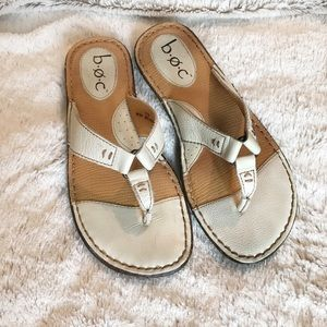 B.o.c. Born Concepts-White Leather Thong Sandals